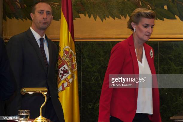 Alfonso Zurita and Maria Zurita attend the delivery to Princess Margarita of the Gold Medal of the Royal National Academy of Medicine at the Royal...