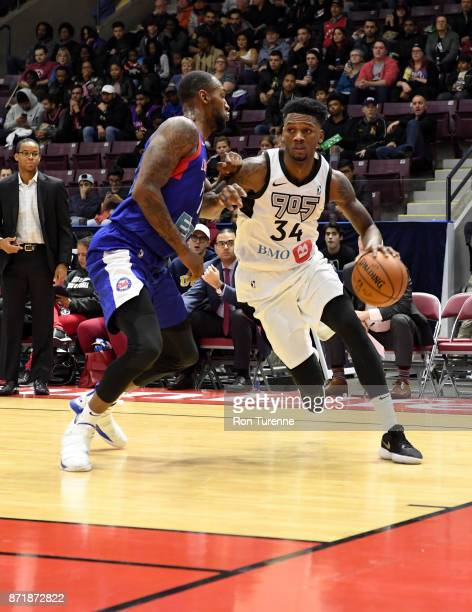 Alfonzo McKinnie of Raptors 905 handles the ball against the Long Island Nets during the NBA GLeague on November 8 2017 at the Hershey Centre in...