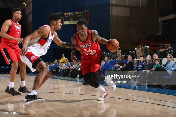 Alfonzo Mckinnie of the 905 Raptors drives the ball against the Delaware 87ers during a GLeague at the Bob Carpenter Center in Newark Delaware on...