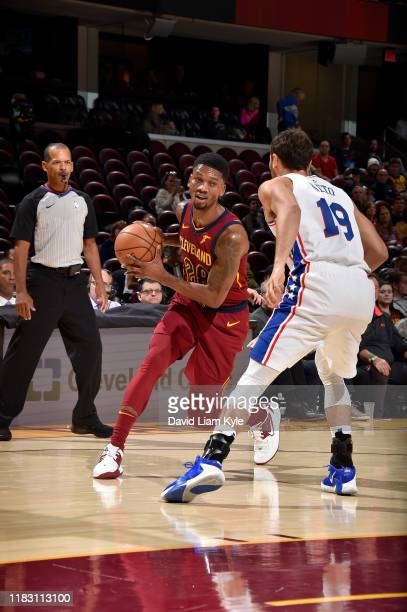 Alfonzo McKinnie of the Cleveland Cavaliers handles the ball against the Philadelphia 76ers on November 17 2019 at Rocket Mortgage FieldHouse in...