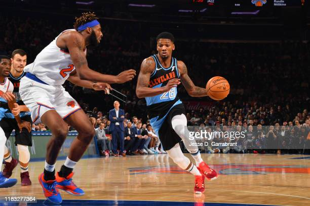 Alfonzo McKinnie of the Cleveland Cavaliers handles the ball against the New York Knicks on November 18 2019 at Madison Square Garden in New York...