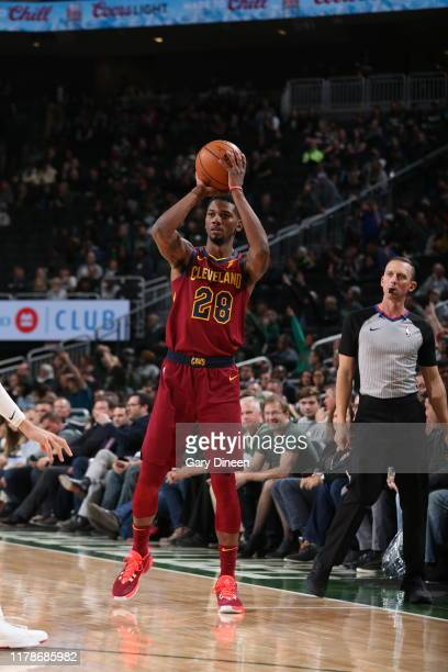 Alfonzo McKinnie of the Cleveland Cavaliers shoots the ball against the Milwaukee Bucks on October 28 2019 at the Fiserv Forum Center in Milwaukee...