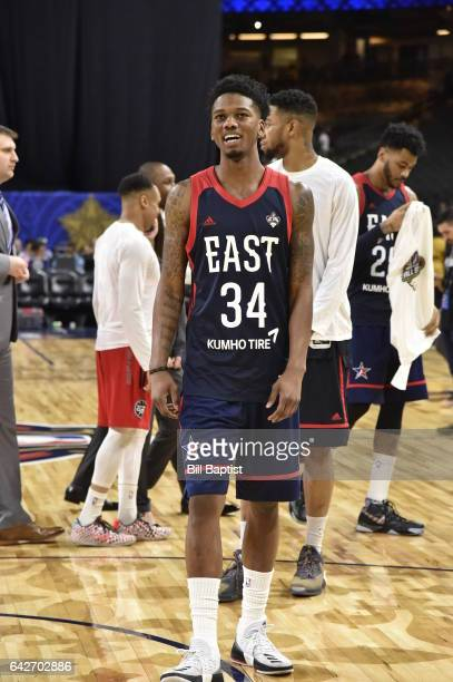 Alfonzo McKinnie of the East Team warms up before the 2017 NBA DLeague AllStar Game Presented By Kumho Tire as a part of 2017 AllStar Weekend at the...