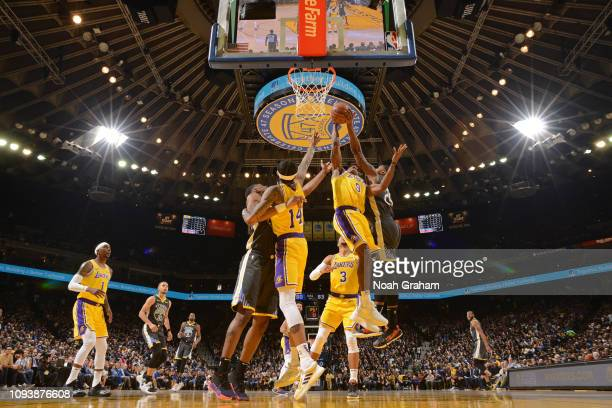 Alfonzo McKinnie of the Golden State Warriors blocks the shot of Rajon Rondo of the Los Angeles Lakers on February 2 2019 at ORACLE Arena in Oakland...