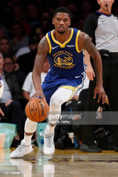 Alfonzo McKinnie of the Golden State Warriors dribbles the ball during the first half of a game against the Los Angeles Lakers at Staples Center on...