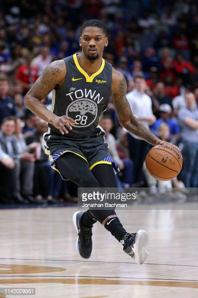 Alfonzo McKinnie of the Golden State Warriors drives with the ball during the first half against the New Orleans Pelicans at the Smoothie King Center...
