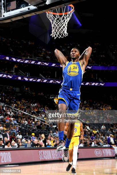 Alfonzo McKinnie of the Golden State Warriors dunks the ball against the Los Angeles Lakers during a preseason game on October 10 2018 at TMobile...