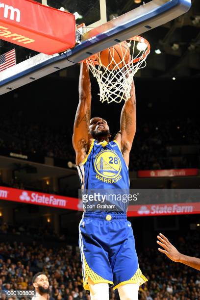 Alfonzo McKinnie of the Golden State Warriors dunks the ball against the Brooklyn Nets on November 10 2018 at ORACLE Arena in Oakland California NOTE...