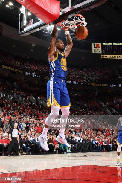 Alfonzo McKinnie of the Golden State Warriors dunks the ball against the Portland Trail Blazers during Game Four of the Western Conference Finals on...