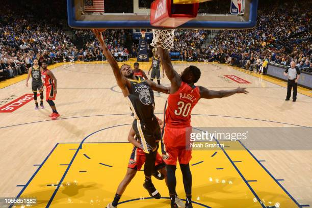 Alfonzo McKinnie of the Golden State Warriors goes to the basket against the New Orleans Pelicans on October 31 2018 at ORACLE Arena in Oakland...