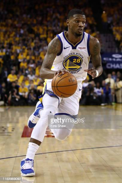 Alfonzo McKinnie of the Golden State Warriors handles the ball on offense against the Toronto Raptors in the first half during Game Three of the 2019...