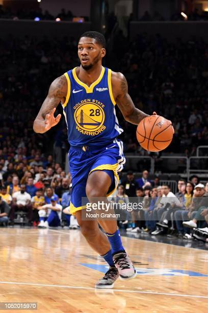 Alfonzo McKinnie of the Golden State Warriors handles the ball against the Los Angeles Lakers on October 12 2018 at SAP Center in San Jose California...