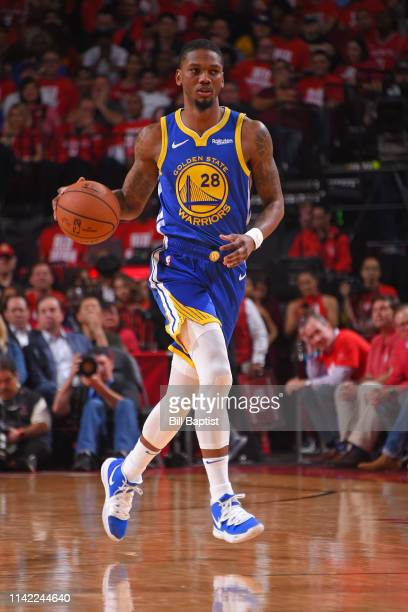 Alfonzo McKinnie of the Golden State Warriors handles the ball against the Houston Rockets during Game Four of the Western Conference Semifinals of...