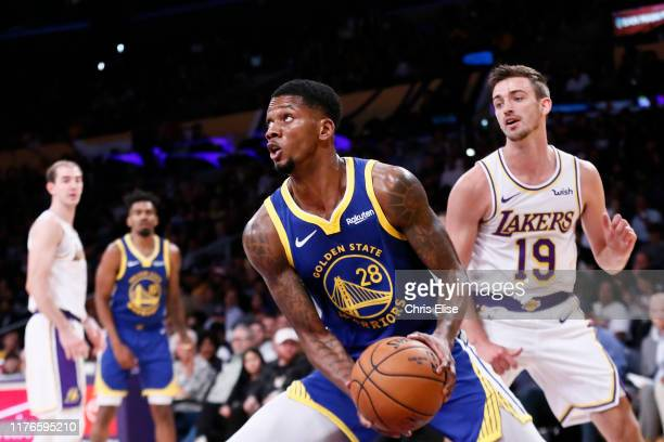 Alfonzo McKinnie of the Golden State Warriors handles the ball against the Los Angeles Lakers during a preseason game on October 14 2019 at STAPLES...