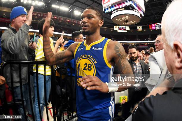 Alfonzo McKinnie of the Golden State Warriors leaves the court after Game Four of the Western Conference Finals against the Portland Trail Blazers on...