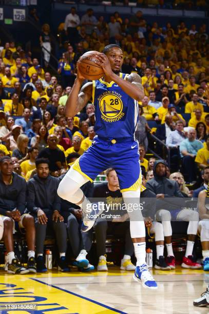 Alfonzo McKinnie of the Golden State Warriors passes the ball against the LA Clippers during Game Five of Round One of the 2019 NBA Playoffs on April...