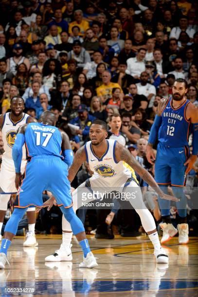 Alfonzo McKinnie of the Golden State Warriors plays defense against the Oklahoma City Thunder during a game on October 16 2018 at Oracle Arena in...