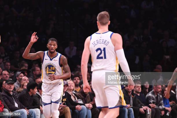 Alfonzo McKinnie of the Golden State Warriors reacts during the game against the Brooklyn Nets at Barclays Center on October 28 2018 in the Brooklyn...