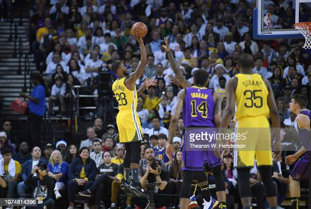 Alfonzo McKinnie of the Golden State Warriors shoots against the Los Angeles Lakers during the first half of their NBA Basketball game at ORACLE...