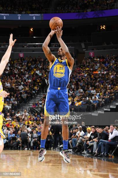 Alfonzo McKinnie of the Golden State Warriors shoots the ball against the Los Angeles Lakers during a preseason game on October 10 2018 at TMobile...
