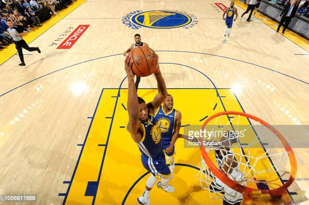 Alfonzo McKinnie of the Golden State Warriors shoots the ball against the Minnesota Timberwolves on November 2 2018 at ORACLE Arena in Oakland...