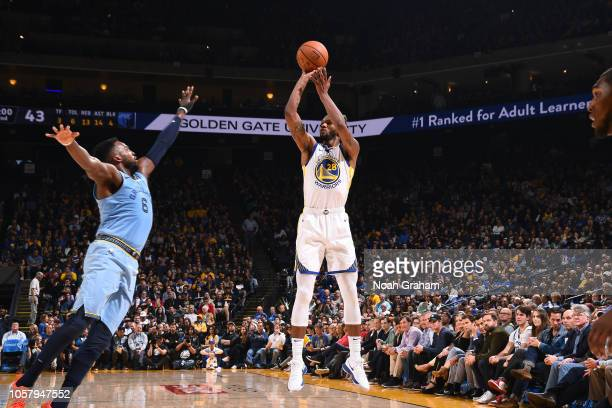Alfonzo McKinnie of the Golden State Warriors shoots the ball against the Memphis Grizzlies on November 5 2018 at ORACLE Arena in Oakland California...