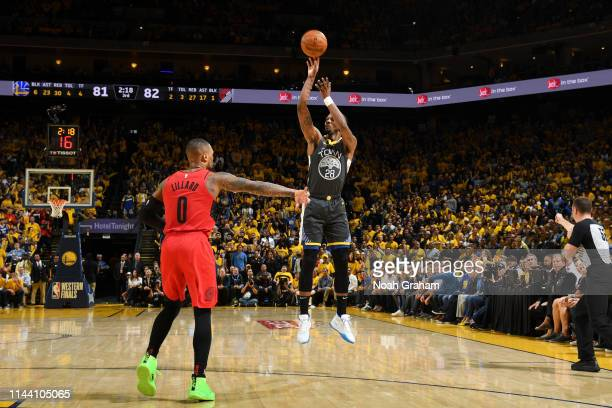 Alfonzo McKinnie of the Golden State Warriors shoots the ball against the Portland Trail Blazers during Game Two of the 2019 Western Conference...