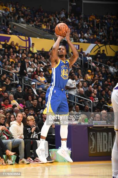 Alfonzo McKinnie of the Golden State Warriors shoots the ball against the Los Angeles Lakers during a preseason game on October 16 2019 at STAPLES...