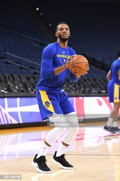 Alfonzo McKinnie of the Golden State Warriors warms up before the game against the Atlanta Hawks on November 13 2018 at ORACLE Arena in Oakland...