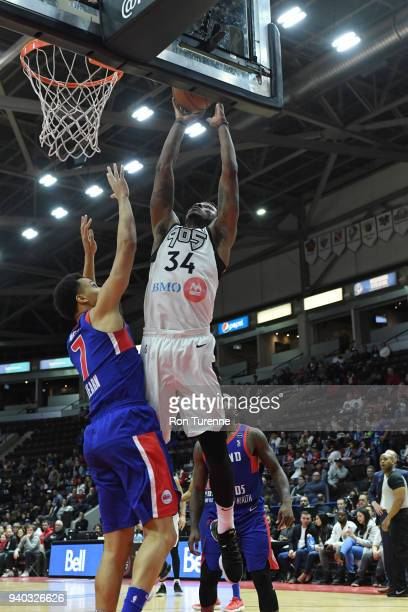 Alfonzo McKinnie of the Raptors 905 dunks against the go after a rebound during Round One of the NBA GLeague playoffs on March 30 2018 at the Hershey...