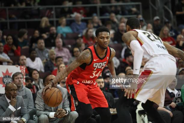 Alfonzo McKinnie of the Raptors 905 handles the ball against the Erie BayHawks during Round One of the NBA GLeague playoffs on April 6 2018 at Los...