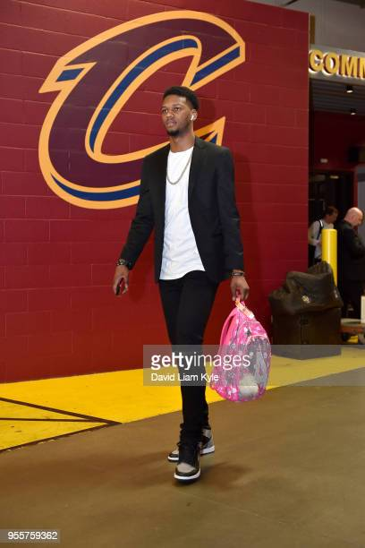 Alfonzo McKinnie of the Toronto Raptors arrives before Game Four of the Eastern Conference Semifinals against the Cleveland Cavaliers during the 2018...