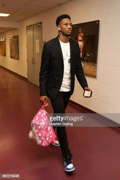 Alfonzo McKinnie of the Toronto Raptors arrives before Game Six of the Eastern Conference Quarterfinals against the Washington Wizards during the...