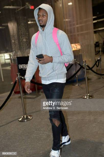Alfonzo McKinnie of the Toronto Raptors arrives before the game against the LA Clippers on December 11 2017 at STAPLES Center in Los Angeles...