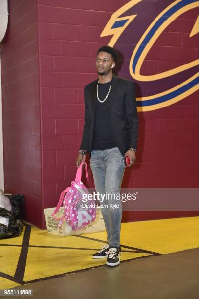 Alfonzo McKinnie of the Toronto Raptors arrives to the arena prior to Game Three of the Eastern Conference Semi Finals of the 2018 NBA Playoffs...