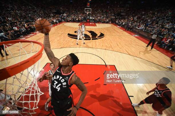 Alfonzo McKinnie of the Toronto Raptors dunks against the Brooklyn Nets on December 15 2017 at the Air Canada Centre in Toronto Ontario Canada NOTE...