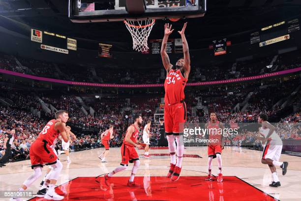 Alfonzo McKinnie of the Toronto Raptors gets the rebound during the game against the Portland Trail Blazers during a preseason game on October 5 2017...
