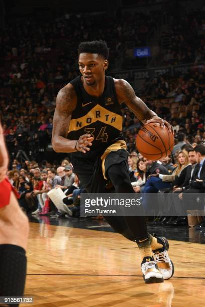 Alfonzo McKinnie of the Toronto Raptors handles the ball against the Portland Trail Blazers on February 2 2018 at the Air Canada Centre in Toronto...