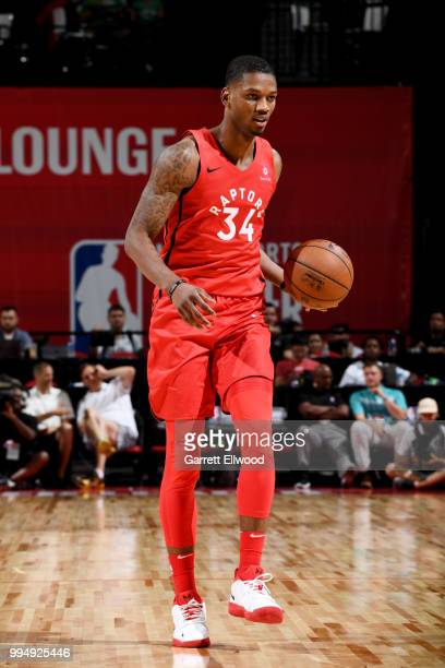 Alfonzo McKinnie of the Toronto Raptors handles the ball against the Oklahoma City Thunder during the 2018 Las Vegas Summer League on July 9 2018 at...