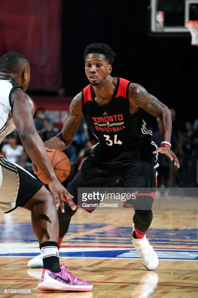 Alfonzo McKinnie of the Toronto Raptors handles the ball during the game against the Minnesota Timberwolves during the 2017 Las Vegas Summer League...