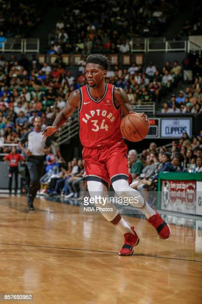 Alfonzo McKinnie of the Toronto Raptors handles the ball during the preseason game against the LA Clippers on October 4 2017 at the Stan Sheriff...