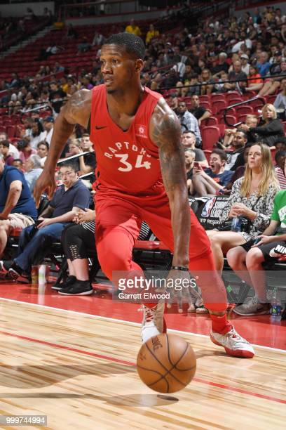 Alfonzo McKinnie of the Toronto Raptors handles the ball during the game against the Cleveland Cavaliers during the 2018 Las Vegas Summer League on...