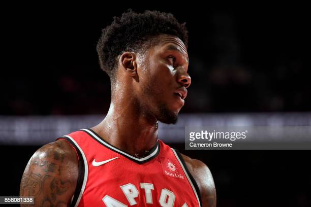 Alfonzo McKinnie of the Toronto Raptors reacts during the preseason game against the Portland Trail Blazers on October 5 2017 at the Moda Center in...