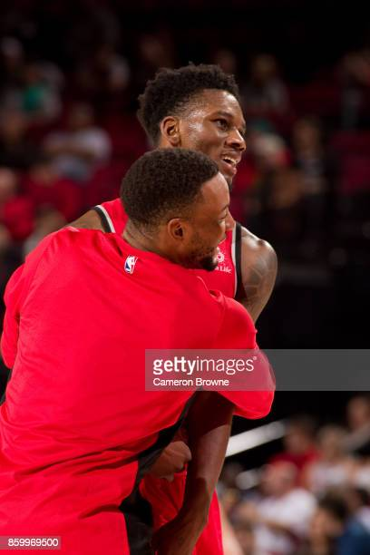 Alfonzo McKinnie of the Toronto Raptors reacts during the preseason game against the Portland Trail Blazers on October 5 2017 at the Moda Center...