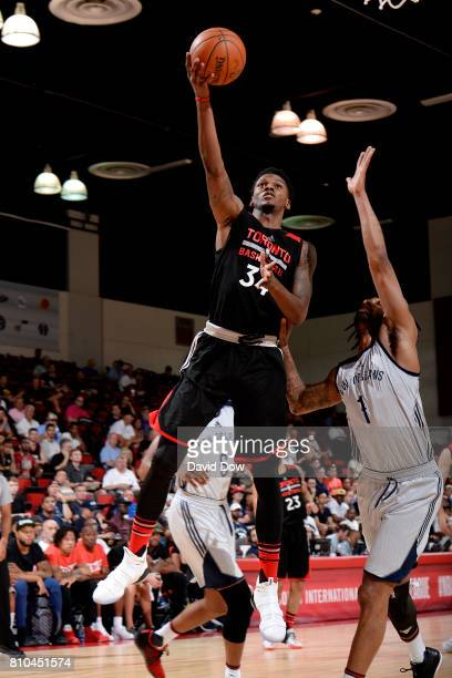 Alfonzo McKinnie of the Toronto Raptors shoots a lay up during the game against the New Orleans Pelicans during the 2017 Las Vegas Summer League on...