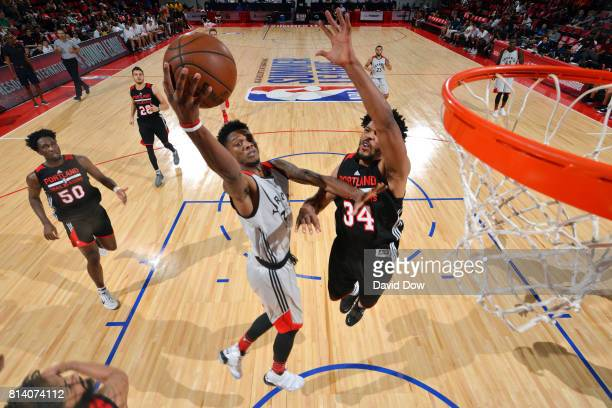 Alfonzo McKinnie of the Toronto Raptors shoots a lay up during the game against the Portland Trail Blazers during the 2017 Las Vegas Summer League...
