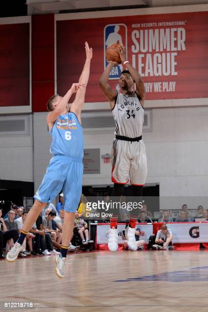 Alfonzo McKinnie of the Toronto Raptors shoots the ball against the Denver Nuggets during the 2017 Las Vegas Summer League on July 10 2017 at the Cox...