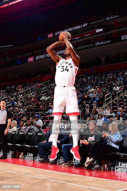 Alfonzo McKinnie of the Toronto Raptors shoots the ball against the Detroit Pistons on April 9 2018 at Little Caesars Arena Michigan NOTE TO USER...