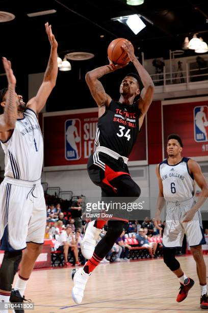 Alfonzo McKinnie of the Toronto Raptors shoots the ball during the game against the New Orleans Pelicans during the 2017 Las Vegas Summer League on...