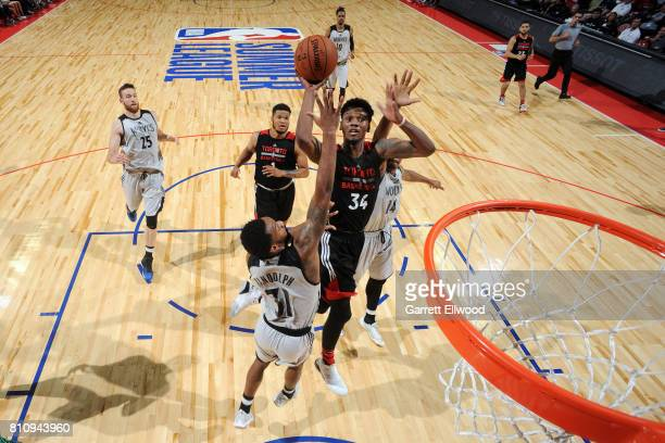 Alfonzo McKinnie of the Toronto Raptors shoots the ball during the game against the Minnesota Timberwolves during the 2017 Las Vegas Summer League on...